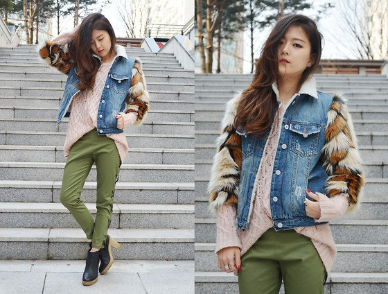 Denim vest with faux fur sweater and green pants