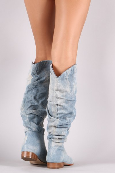 knee-high jeans boots with wide calves and mini-shorts