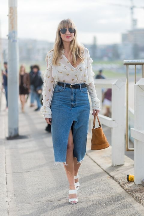 Midi skirt denim with a high waist