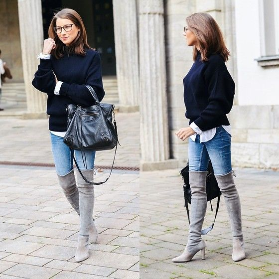 gray jeans boots