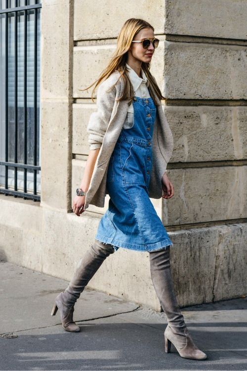 Jeans overall dress gray boots