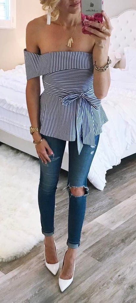 simple ootd top + rips + heels | Dressy outfits, Fashion, Dressy .