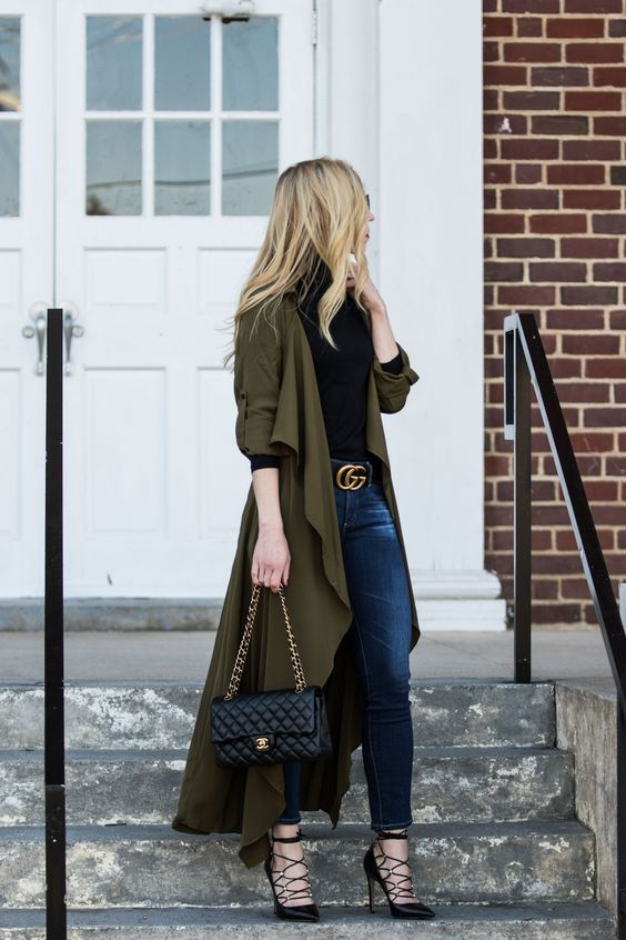 Olive green feather duster jacket