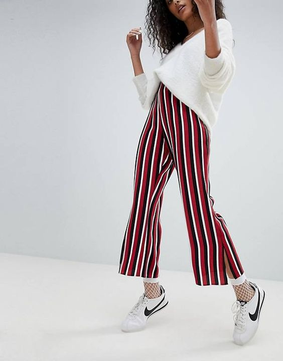 Striped flare leggings