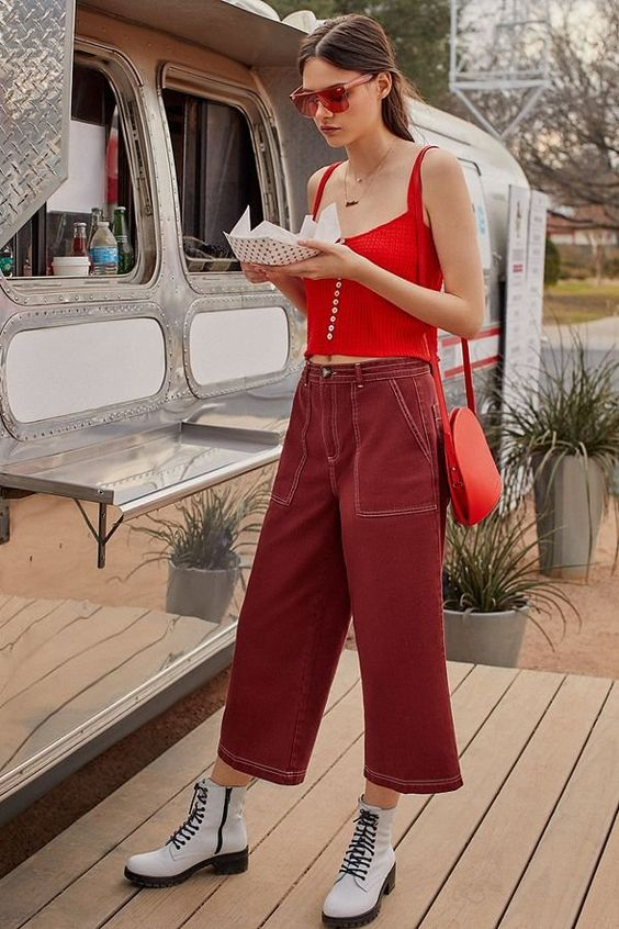 Matchy carpenter trousers red