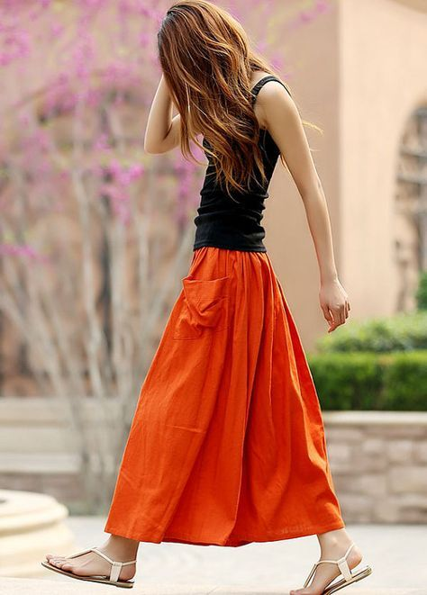 elastic waist skirt orange new black