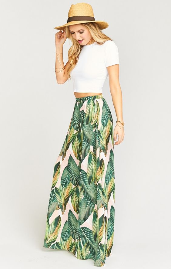 elastic waist skirt tropical
