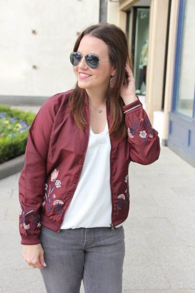 embroidered bomber jacket white chiffon top