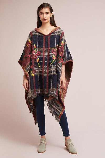 embroidered poncho made of brown and dark blue plaid