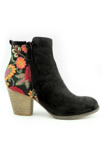 Block Heel Faux Suede Floral Embroidered Booties-Bla