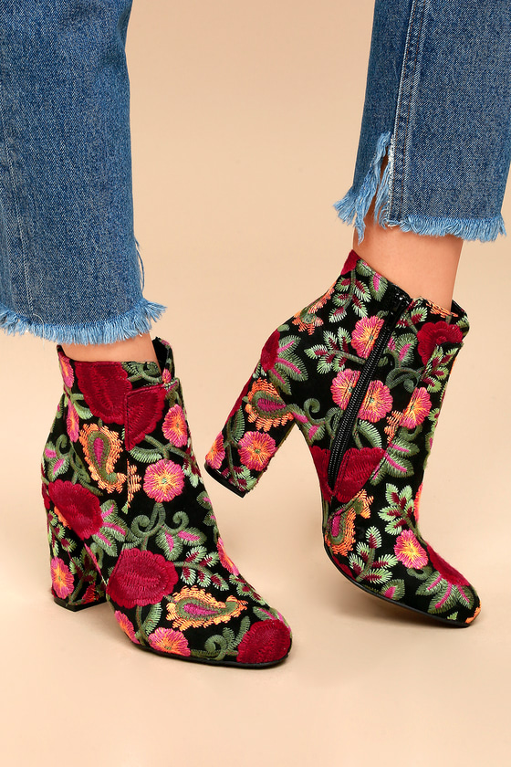 Chic Floral Embroidered Booties - Black Ankle Booties - Lul