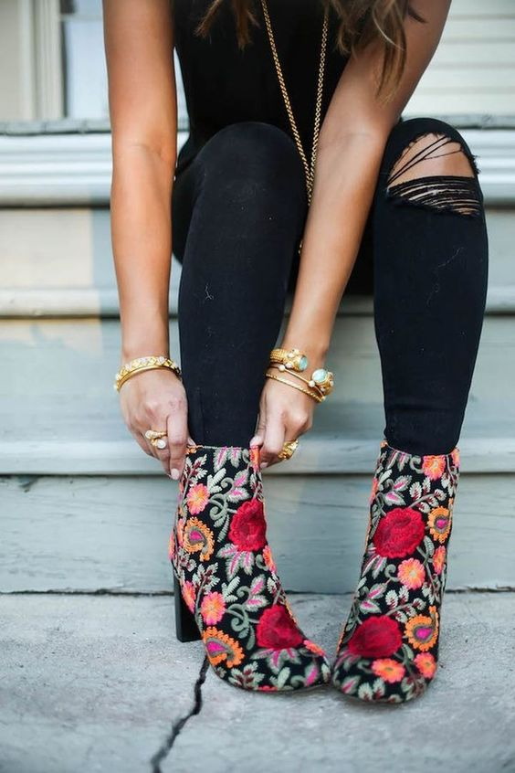 embroidered floral ankle boots black jeans