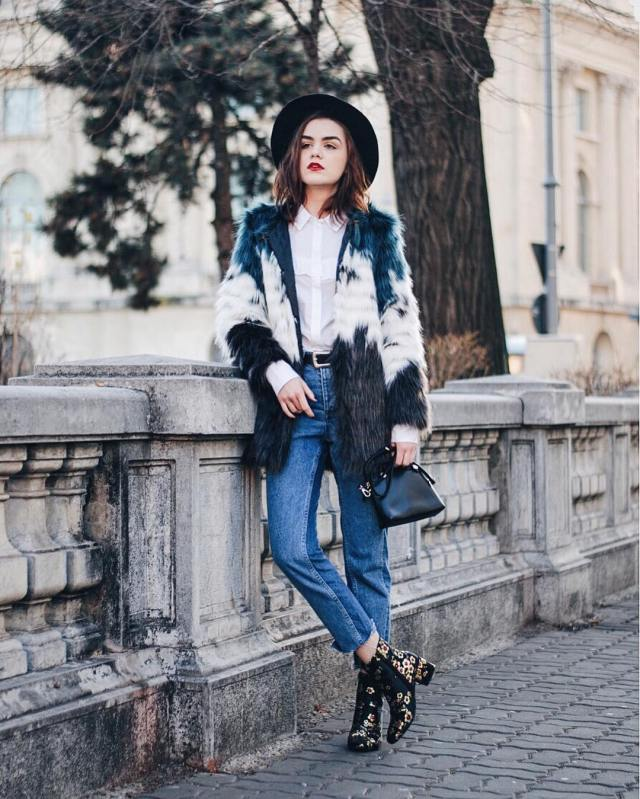 embroidered flower boots faux fur coat