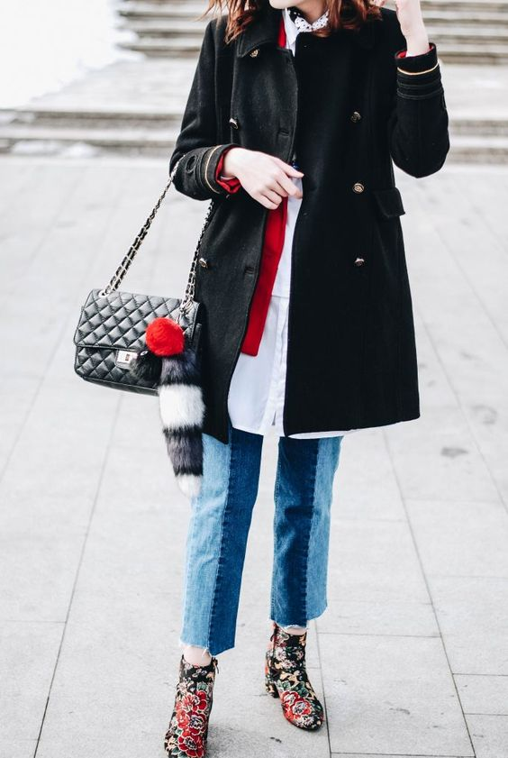 embroidered floral coat military coat