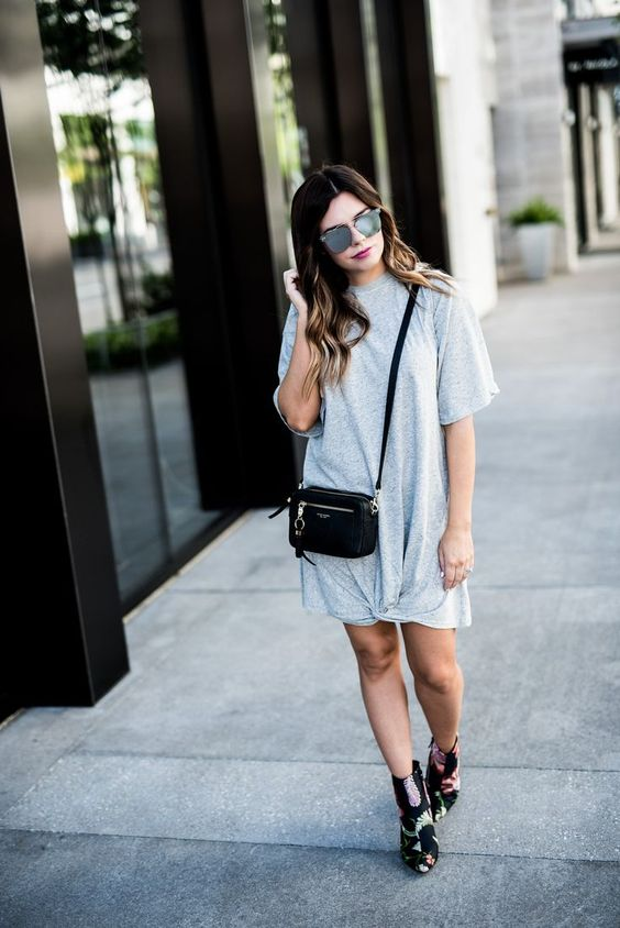 embroidered shirt dress with flower boots