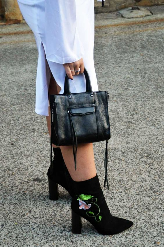 embroidered white shift dress with flower boots