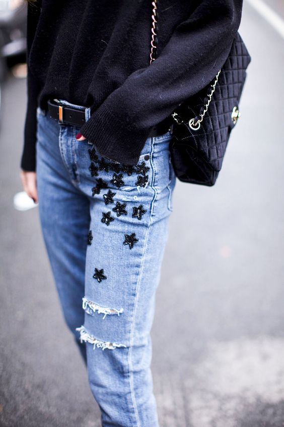 embroidered jeans blue stars
