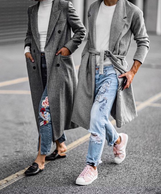 embroidered jeans gray coat