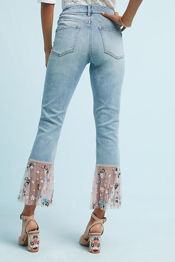 embroidered jeans tulle hem