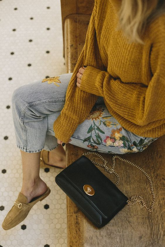 embroidered jeans mustard yellow sweater