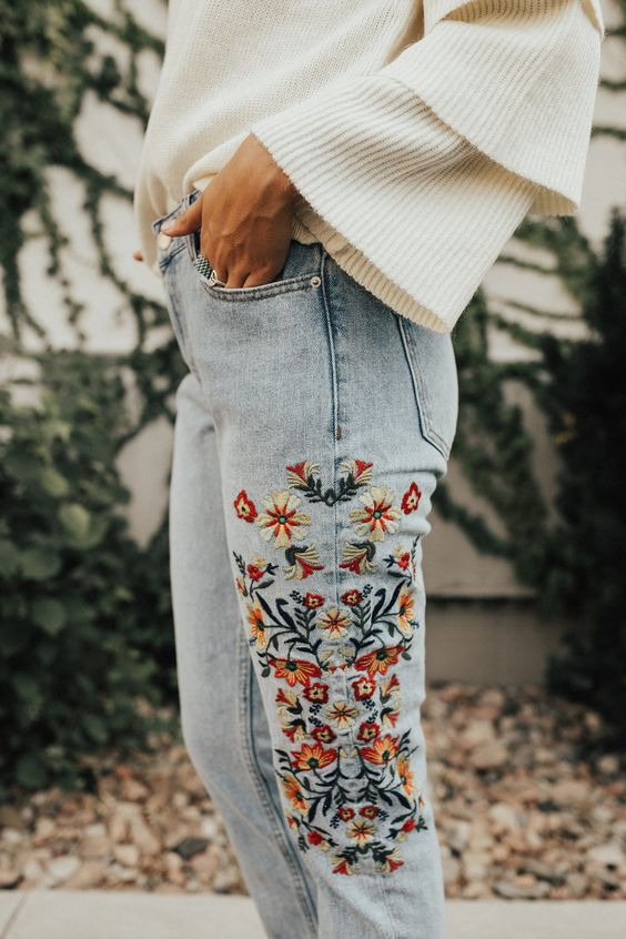 embroidered jeans white ruffle sweater