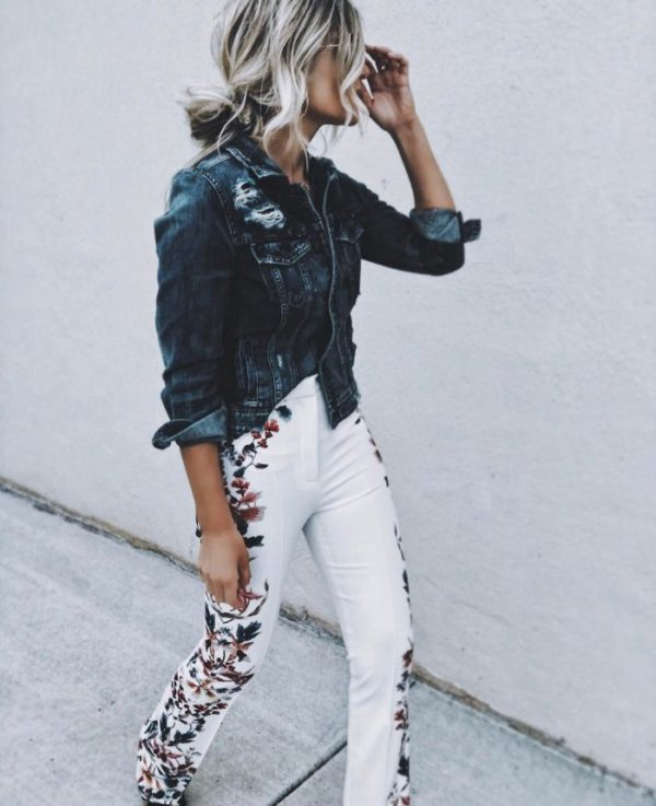 embroidered jeans white