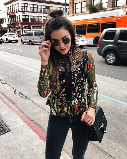 embroidered black mesh top jeans