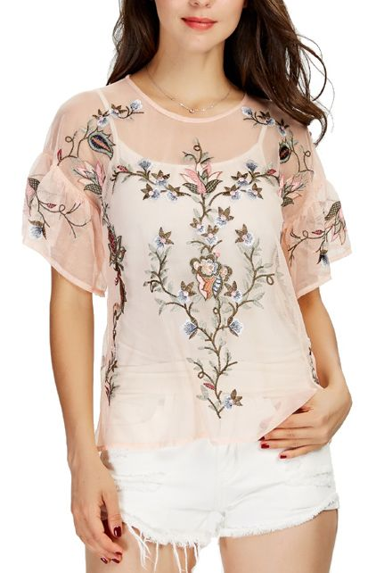Dinah' floral embroidered mesh top features short ruffle sleeve .