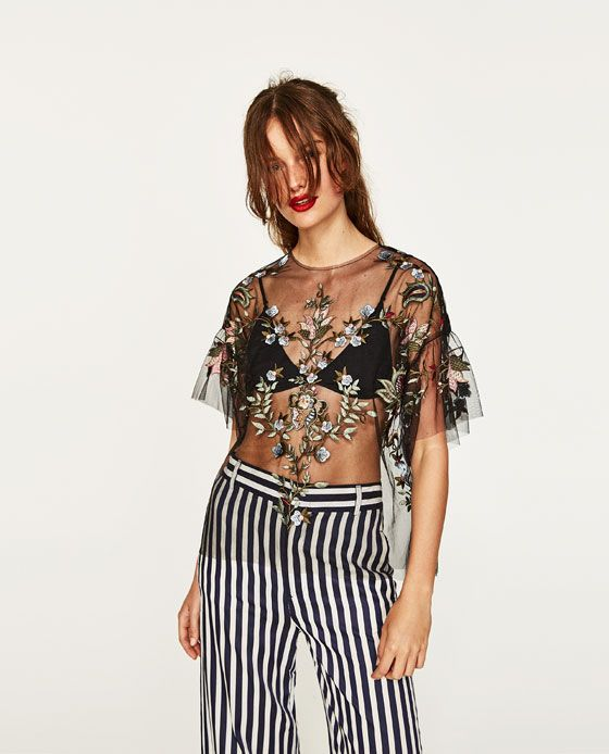 embroidered mose top striped pants