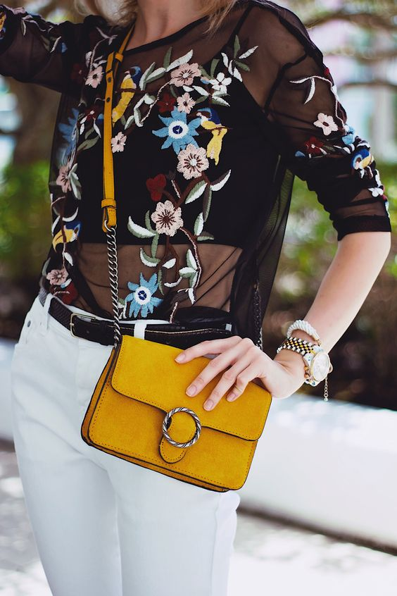 embroidered mesh top white jeans yellow pocket