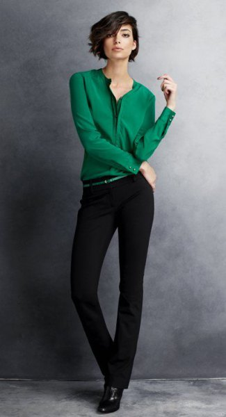 emerald green shirt with buttons and black chinos