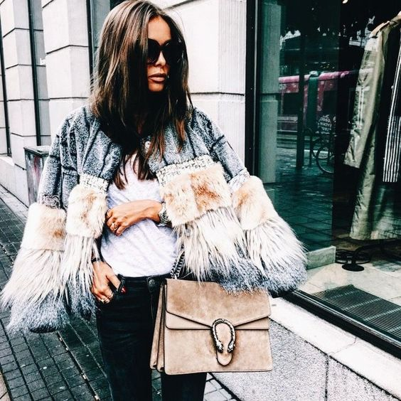 faux fur cape modern chic
