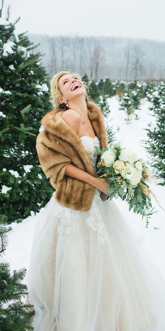 faux fur cape wedding dress