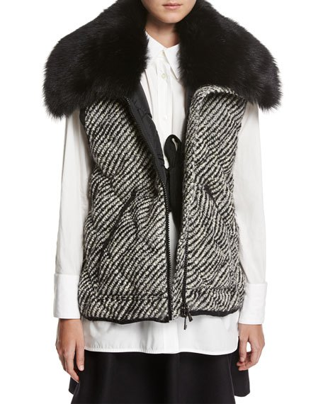 Quilted faux fur tweed vest, white blouse