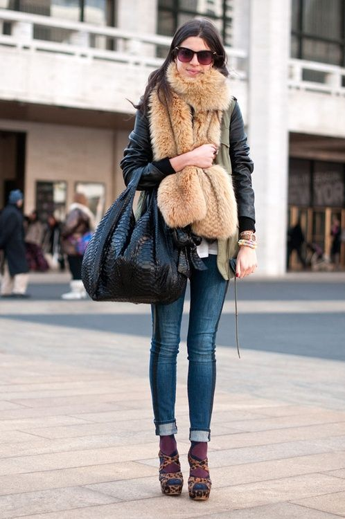 Faux fur scarf casual