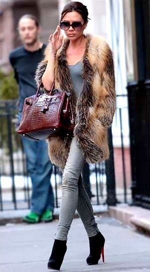 Style Guide: How to wear Faux Fur vest? | Victoria beckham style .