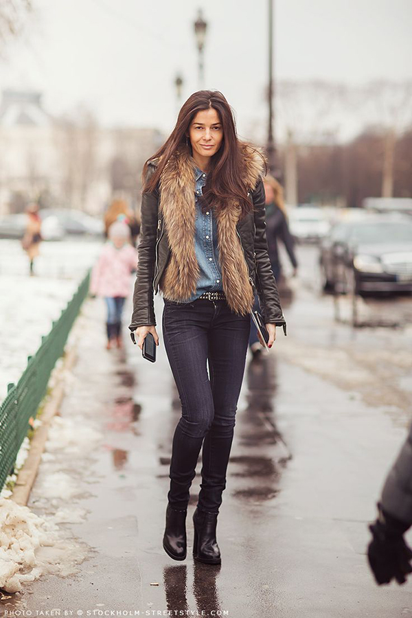 Faux fur vest under the jacket