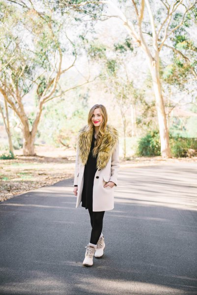 Faux fur wool coat with a black sheath dress and white duck boots