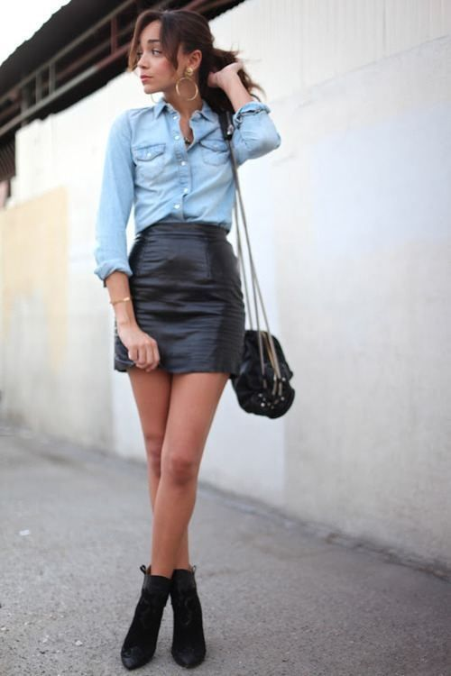 Trendy Leather Skirts Outfits for Women to Look Gorgeous - Ohh My .