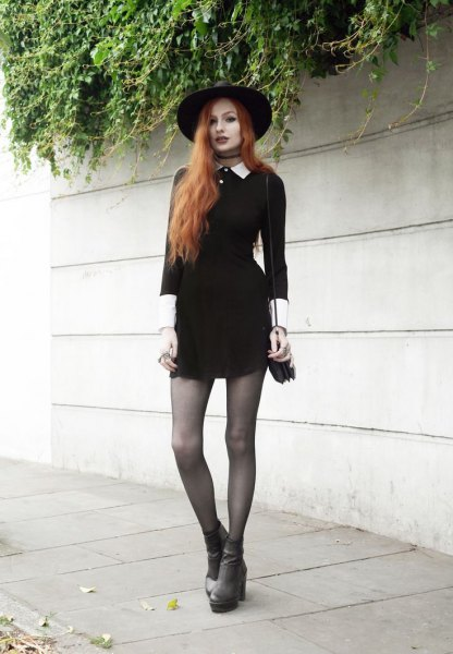 Felt hat with a mini skater dress and gray boots