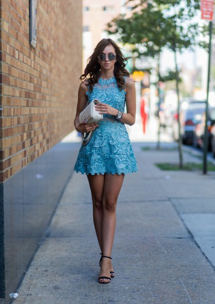 Wear a lace mini dress with a mock neckline and black open toe heels
