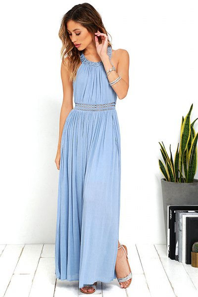 Fit and flare light blue halterneck pleated long dress