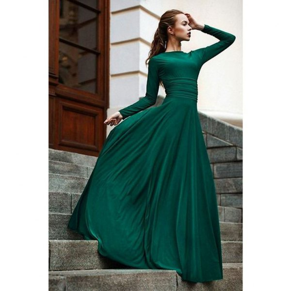 Fit and flare long sleeve floor length flowing ball gown