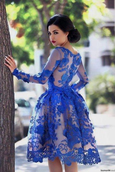 fit and flare royal blue knee-length, semi-transparent lace dress