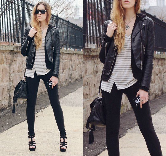 tailored moto jacket with gray and white striped top with V-neck and skinny jeans