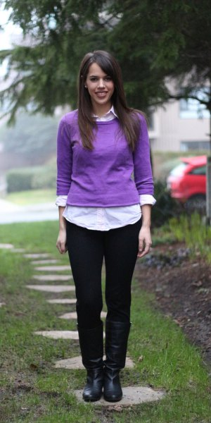 fitted sweater over white shirt with buttons