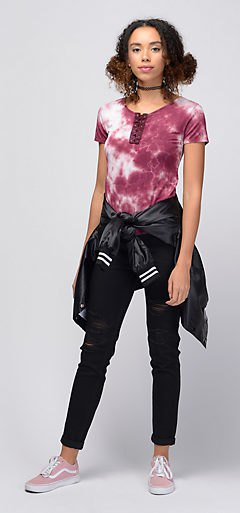 fitted t-shirt with black skinny jeans with cuffs and bomber jacket