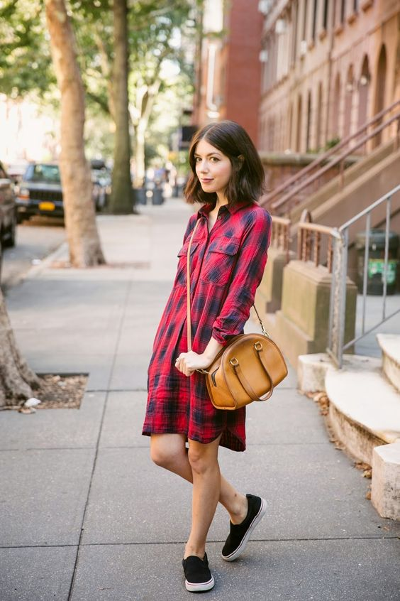 Flannel dress red for everyday life