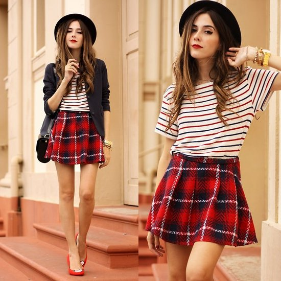 Flannel red plaid navy mini skirt and white striped t-shirt