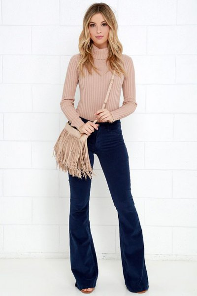 Flare corduroy pants high neck knitted sweater